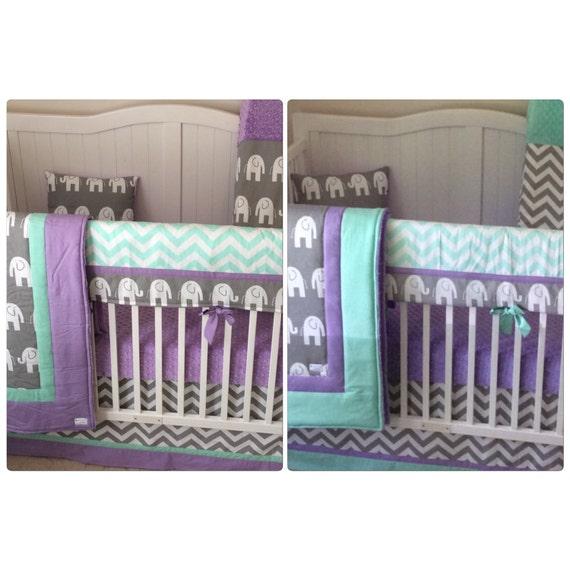 Lavender, Mint, Grey Mini Crib set by CribBeddingByBB