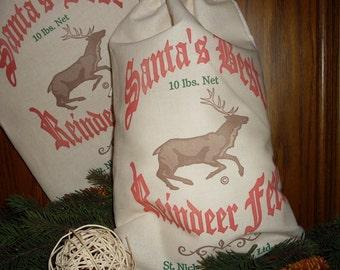 Reindeer bag, Santa Bag, Feed sack, grain sack, gift bag, Feed Sack, Santas Best Reindeer Feed, Christmas bag, Feed Sack