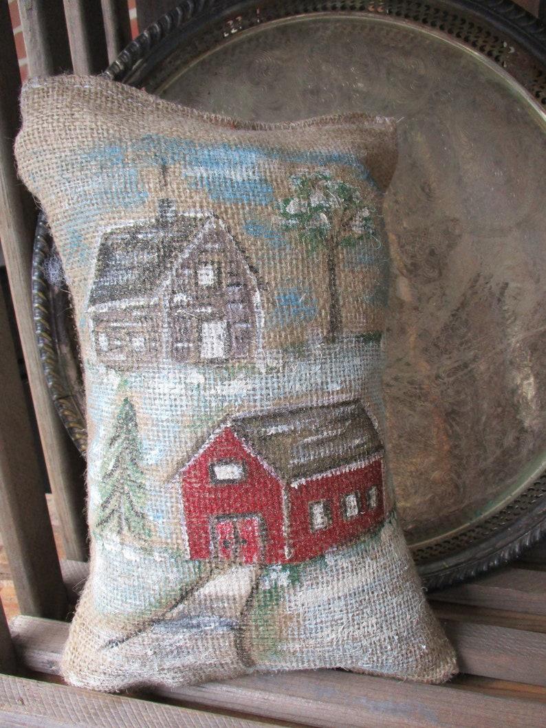 Pillow small shelf pillow Hand-painted pillow canvas pillow hand painted decor log cabin pillow,8 x 12 Home decor. Country home Decor