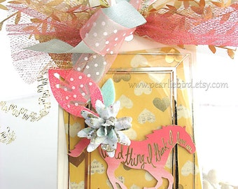 Pink and Gold Horse Wild Thing I Think I Love You XL Deluxe Art Gift Tag~birthday gift tag~cream~pink~gold~yellow~hang tags~pretty packaging