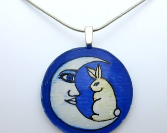 The Rabbit and the Moon, moon rabbit necklace, asian folktale, blue moon