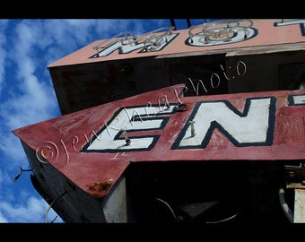 Vintage Motel Neon Arrow Sign Original Photograph on Gallery Wrapped Canvas