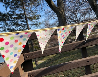 POLKA DOT BANNER--Polka Dot Birthday Banner Bunting Flags-Boy Girl Party Banner--Pink Red Green Orange Blue Yellow Fabric Bunting-Photo Prop
