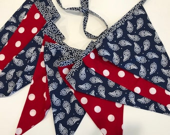 PATRIOTIC SUMMER BANNER-Reusable Fabric Banner Red White Blue-Nautical Bunting Flags-Boating Sailing Party-Americana-Summer Fun-4th of July