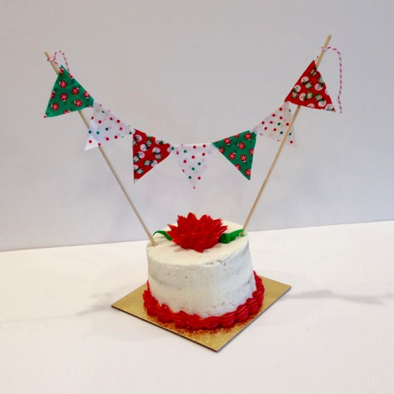 Gold Green /& Red Chevrons Personalised Christmas Decoration Bunting Party Banner