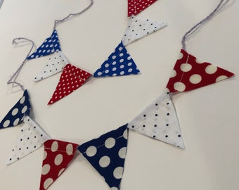 AMERICANA CAKE TOPPER--Red White Blue Patriotic Polka Dot Cake Banner Garland--4th of July--Summer Party--Army Navy Air Force--Summer Cake