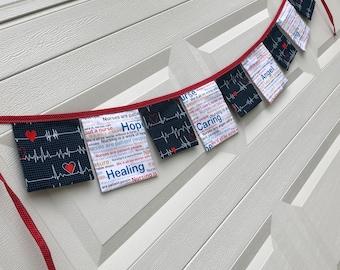 NURSE PRINT GARLAND Banner- Nursing School Grad Party Garland-Nurses Week-Gift for Nurse-Love a Nurse
