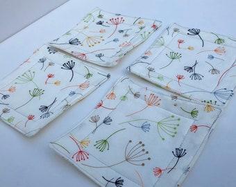 WINDBLOWN DANDELION COASTERS- ColorfulWashable Fabric Coasters