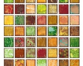 Colorful Squares - Digital Download - Grungy Inchies in Jewel Colors Collage Sheet - 1 x 1 Inch - Printable