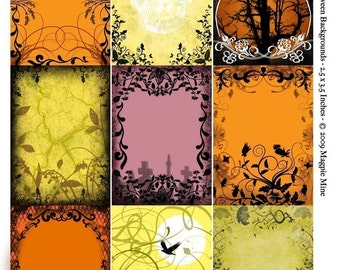Halloween Backgrounds Collage Sheet Digital Download - Printable - ACEO-ATC Size 2.5 x 3.5 Inch Rectangles