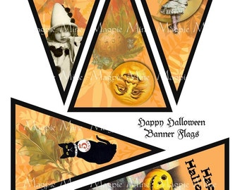 Halloween Banner Printable Collage Sheet - 5 Triangle Flags - Digital Download - make your own banner
