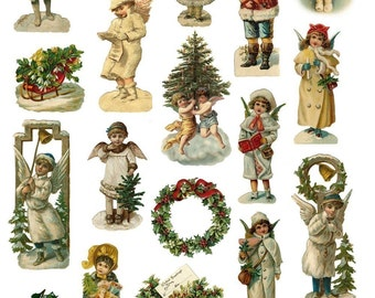 Victorian Children and Angels - Digital Download for Paper Craft - Instant Download - Santa's Helpers Collage Sheet - Printable