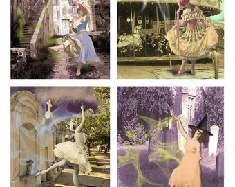 Haunted Dances Spooky Collage Sheet - Instant Digital Download - Altered Art Backgrounds - 3.5 x 4.5 Inches - Printable