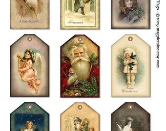 Christmas Hang Tags - Instant Download - Holiday Santas, Angels, and Children - 2 x 3.25 Inches - Digital Download - Printable