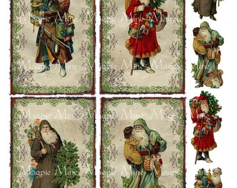 Santa's Toys Collage Sheet - Victorian Santa Claus on Antiqued Tags - Toys - St. Nicholas - Christmas - Instant Download - Printable