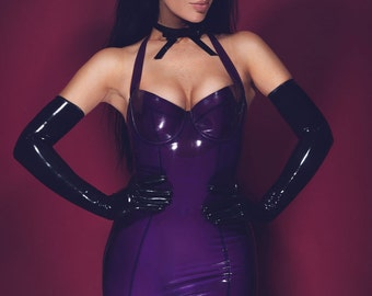 70ade50743 Lady Lucie Latex Halter Cup Pencil Dress