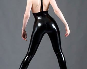 8c3921f3d9 Lady Lucie Latex High Waisted Longline Leggings With Braces