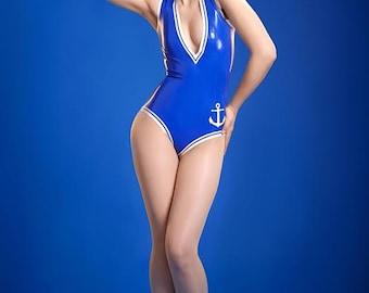 da310ed301 Lady Lucie Latex V Neck Latex Sailor Girl Bodysuit
