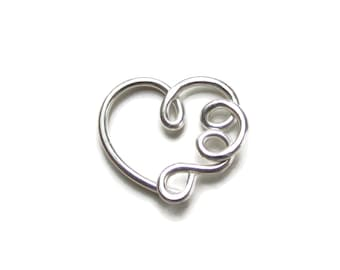 Custom made for you Heart Earring with loops Daith Heart Ring, Single ( 1 One ), Choose Gold or Silver
