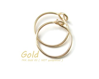 Custom made for you Small Size Gold Earrings Gold Small Hoop Earrings Nickel Free for Sensitive Ear Lobe, Choose Size