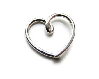 Silver Daith Heart Earring for Daith Helix, Single ( 1 ) One Piece