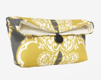 Yellow and Gray Clutch Purse