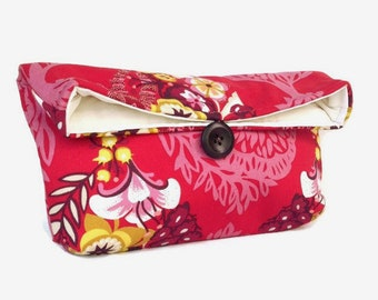 Red Clutch Purse or Makeup Bag, Bridesmaid Gift, Wedding Accessory, Bright Colorful Floral