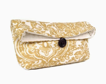 Handmade Gold Clutch Purse, Wedding Accessory Lace Pattern, Great for Travel, Bridesmaid Clutch, Makeup Bag
