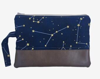 Cancer Constellation Clutch Purse, Zodiac Constellation, June Birthday Present, July Birthday, Night Sky, Astrology, Galaxy Clutch, Navy