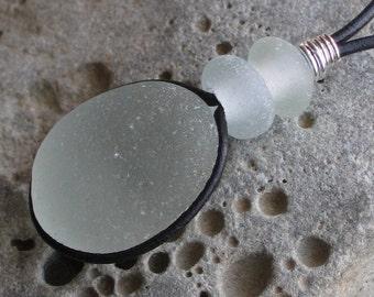 Natural Sea Glass Pendant Necklace Soft Seafoam (575)
