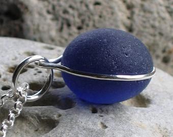 Rare Cobalt Blue Sea Glass Sterling Silver Pendant Necklace (822)
