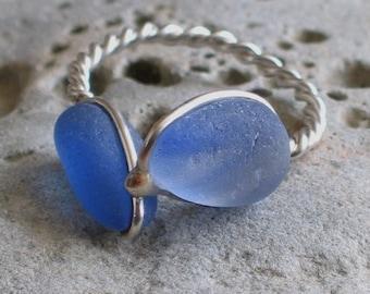 Natural Sea Glass Sterling Silver Ring Rare Wispy Cornflower blue US 8 1/2 (379)
