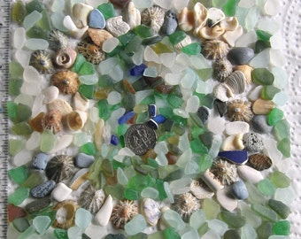 290 Small and Tiny Surf Tumbled Assorted Fragments Art Mosaic Craft Supplies (1911)