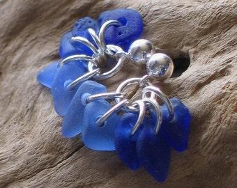 Blue Blue Sea Glass Sterling Silver Studs Post Earrings (351)