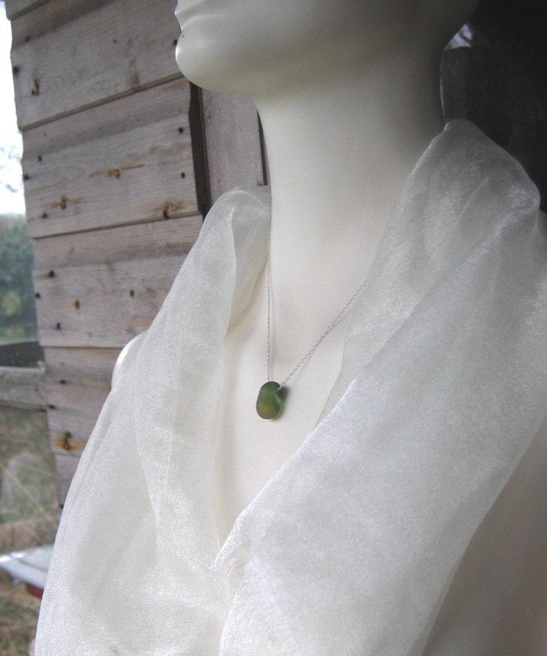 Aurora Borealis Rare Sea Glass Sterling Silver Pendant Necklace 718