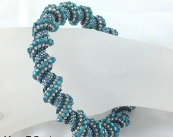 Teal Blue Cellini Spiral Bangle Bracelet...EBW Team