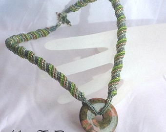 Beadwoven Necklace With Natural Stone Donut Focal .. ebw Team