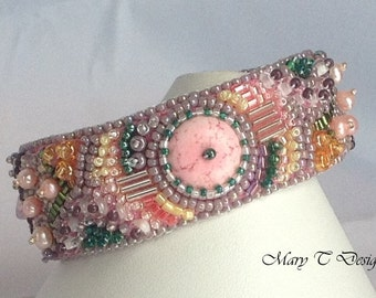 Pink and Green Bead Embroidery Cuff Bracelet ... EBW Team