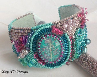 Frosted Fall Bead Embroidered Bangle Bracelet ... Blue and Pink Abstract