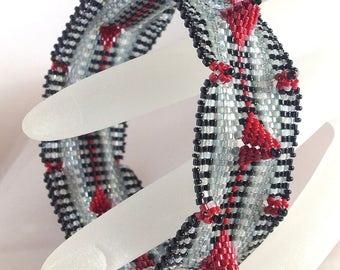 Gray, Black and Red Geometric Bangle Bracelet ... ebw team