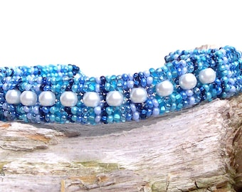 Shades of Blue With Pearl Insets Herringbone Bangle Bracelet