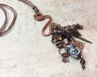 Free Form Copper Necklace Lampwork Beads & Charms