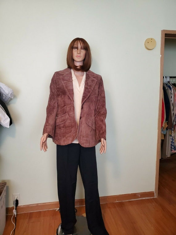 Vintage Suede Leather Jacket Blazer ANNE KLEIN 197