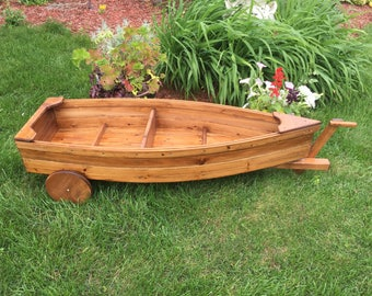 Finished Nautical all cedar boat and trailer outdoor landscape garden box planter lawn yard ornament
