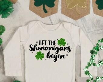 NEW Baby First St Patricks Day Let the Shenanigans Begin 12 Month Shamrock Irish