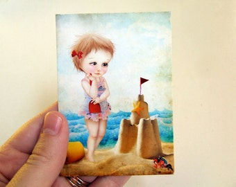 Lowbrow Art ACEOATC Mini Fine Art Print Le Jongleur Artist Trading Card 2.5x3.5 Circus Carnival Art Cute Juggler Girl