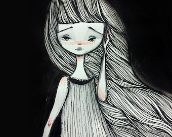 Fine Art Print - 'Isolde' - Black and White ink painting -  Lowbrow Art - 11x17 or 13x19 Large Sized Giclee Print