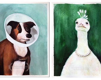 Limited Edtion Reproduction Art Print 'Amelie Portraits' Medium multiple sizes - Dog in Cone and Peacock