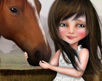 """ACEO ATC Artists Trading Card """"Kate""""  Little Girl and Her Horse - Cowgirl Art- Mini Giclee Print 2.5x3.5"""
