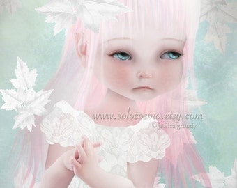 """Sweet Child Little Girl 8x10 or 8.5x11 A4 11x17  - """"Cultivate""""  - Blue and Pink - Giclee Print of Original digital Illustration"""